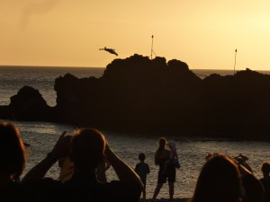 Cliff diver at Black Rock.