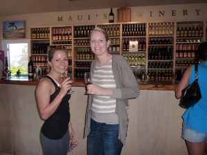 Nanny Stephanie and Mommy drinking some wine.  Mommy looks really tall here!